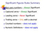 significant figures rules summary