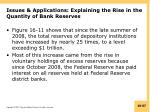 issues applications explaining the rise in the quantity of bank reserves