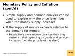 monetary policy and inflation cont d
