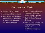 outcome and tasks