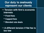 our duty to zealously represent our clients