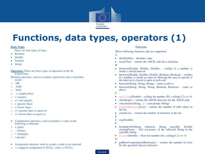Functions, data types, operators (1)