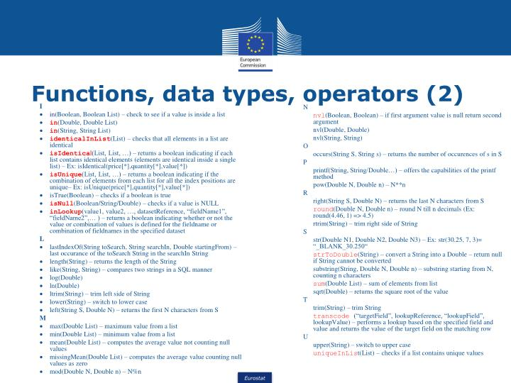 Functions, data types, operators (2)
