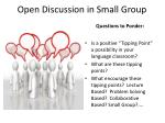 open discussion in small group