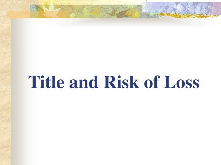 title and risk of loss n.