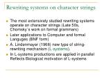 rewriting systems on character strings