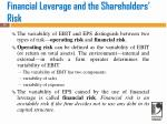 financial leverage and the shareholders risk
