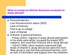 what accounts for african american exclusion in study abroad
