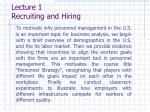 lecture 1 recruiting and hiring
