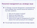 personnel management as a strategic issue