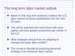 the long term labor market outlook