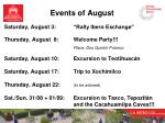 events of august