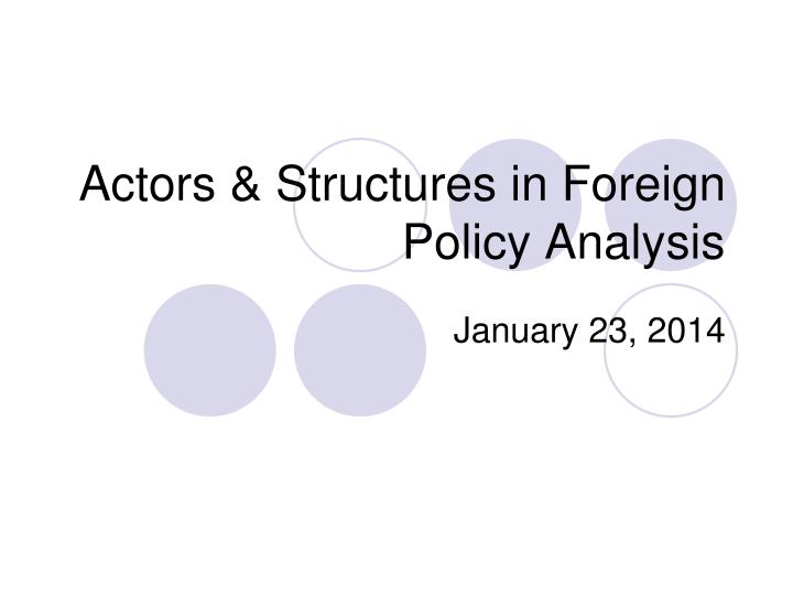 actors structures in foreign policy analysis n.