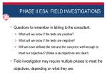 phase ii esa field investigations