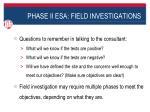 phase ii esa field investigations