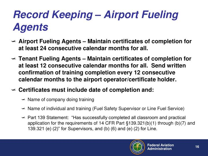 Record Keeping – Airport Fueling Agents