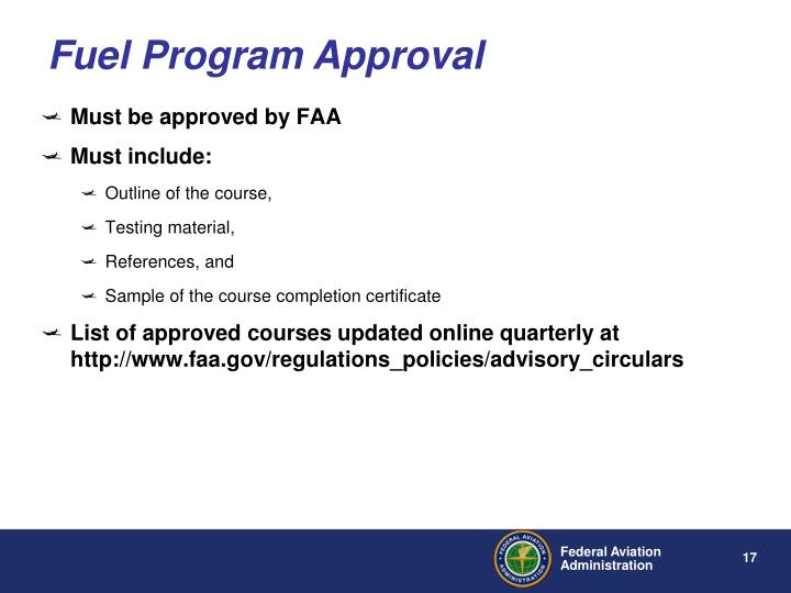 Fuel Program Approval