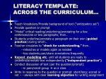 literacy template across the curriculum