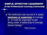 simple effective leadership in the professional learning community