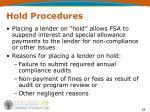 hold procedures