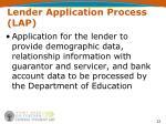 lender application process lap