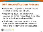 opa recertification process