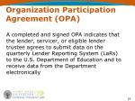 organization participation agreement opa