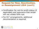 request for new reactivation or reassignment lid con t1