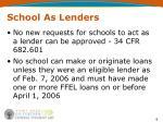 school as lenders