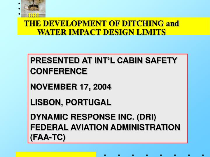the development of ditching and water impact design limits n.