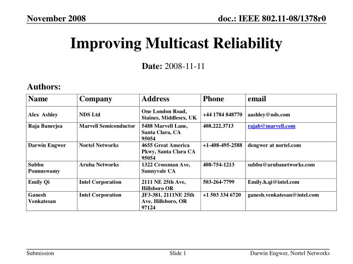 improving multicast reliability n.
