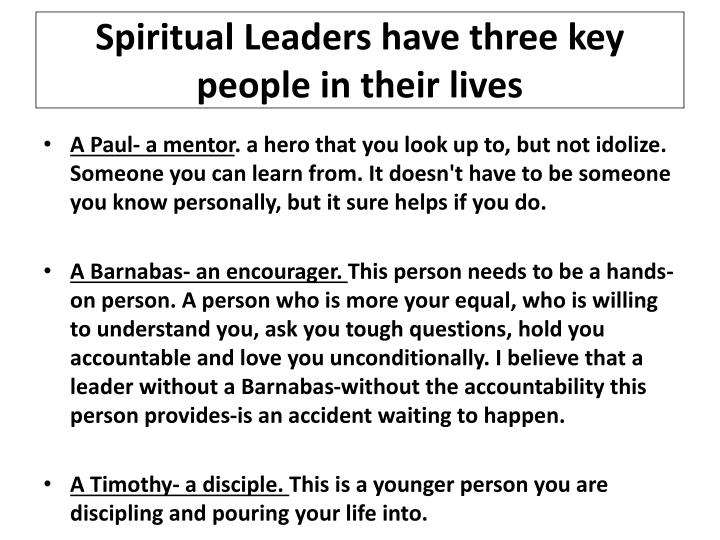 spiritual leaders have three key people in their lives n.