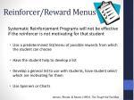 reinforcer reward menus