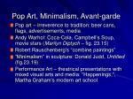 pop art minimalism avant garde