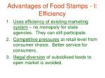 advantages of food stamps i efficiency