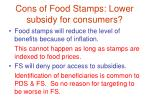 cons of food stamps lower subsidy for consumers