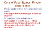 cons of food stamps private sector s role