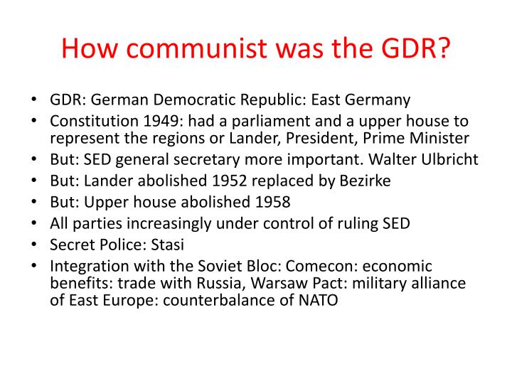 How communist was the GDR?