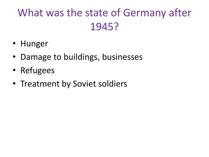 What was the state of germany after 1945