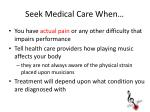 seek medical care when