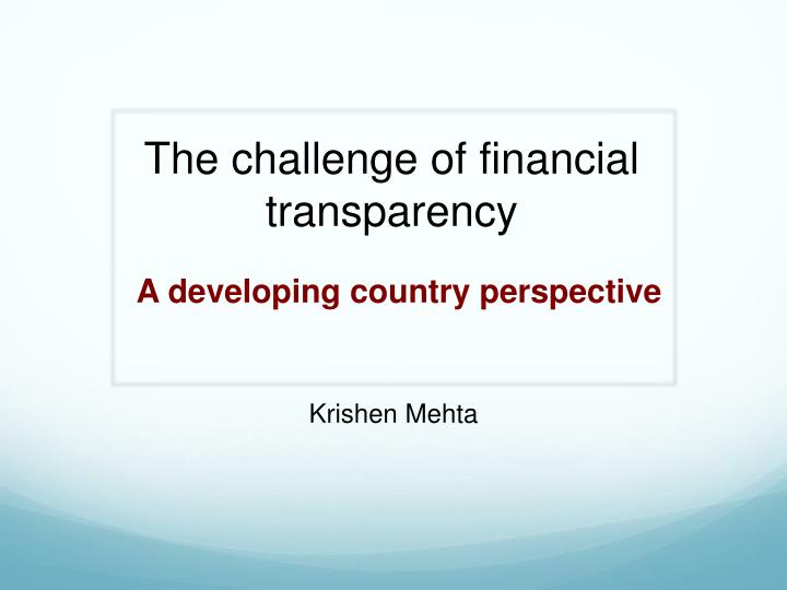 the challenge of financial transparency n.