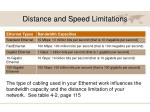 distance and speed limitations