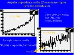 angular dependence in the resonance region k 140 160 mev c