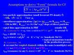 assumptions to derive fermi formula for cf