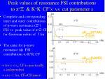 peak values of resonance fsi contributions to k k cf s vs cut parameter