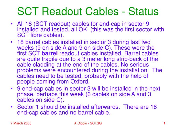 sct readout cables status n.