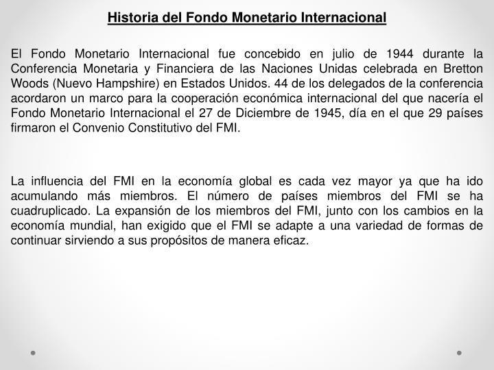 Historia del Fondo Monetario