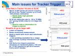 main issues for tracker trigger