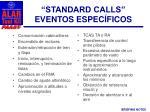 standard calls eventos espec ficos