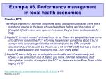 example 3 performance management in local health economies